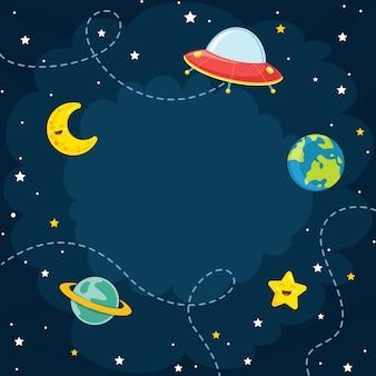 Espace, lune, étoile vector illustration