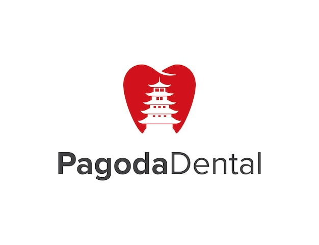 Espace négatif pagode et dent dentaire simple élégant créatif géométrique moderne logo design