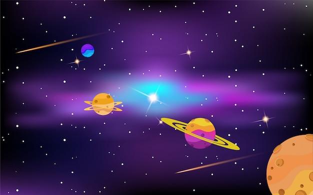 Espace avec des planètes et des étoiles brillantes
