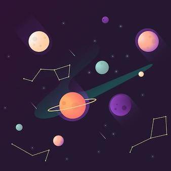 Espace serti de planètes et de constellation