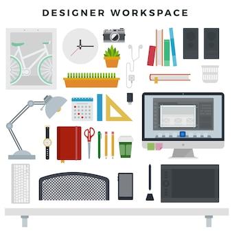 Espace de travail de bureau créatif moderne
