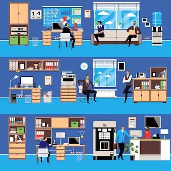 Espace de travail de bureau moderne de vecteur dans un style plat