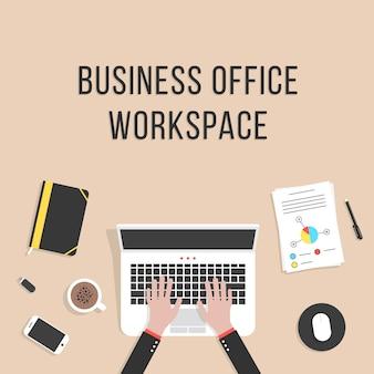 Espace de travail de bureau avec ordinateur portable
