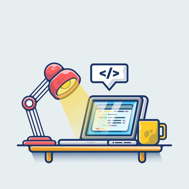 Espace de travail avec café et lampe