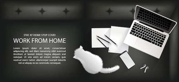 Espace de travail sur le canapé pour la distanciation sociale, travail à domicile avec un joli concept d'infographie pour animaux de compagnie