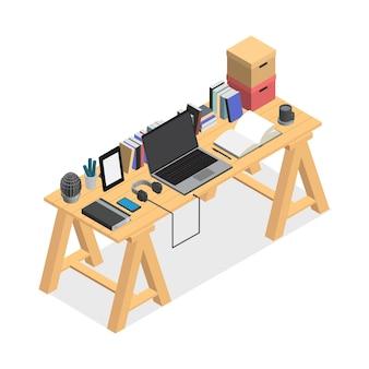 Espace de travail contemporain isolé sur fond