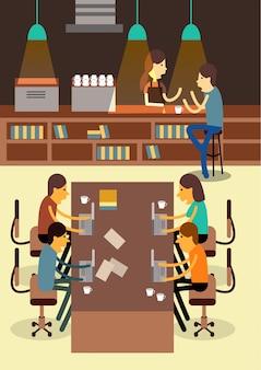 Espace de travail coopératif. communication de créativité.