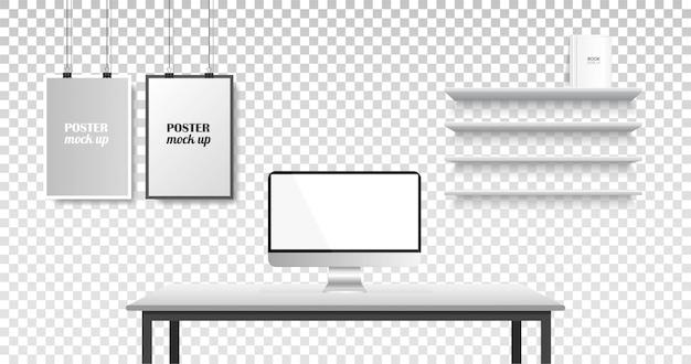 Espace de travail créatif de bureau réaliste.