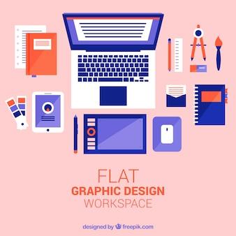 Espace de travail de design graphique plat