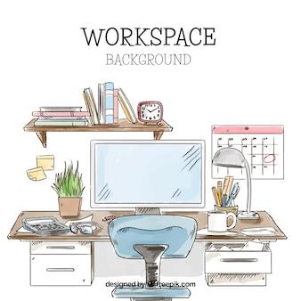 Espace de travail dessiné à la main avec un style mignon