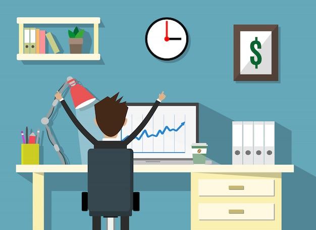 Espace de travail avec l'homme d'affaires