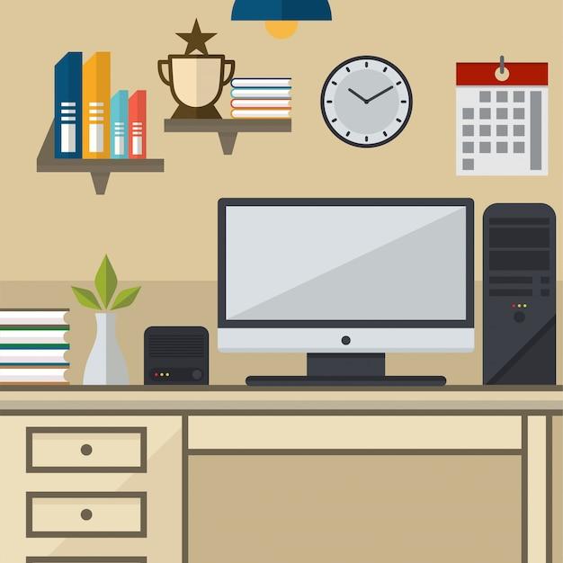 Espace de travail avec une illustration vectorielle de périphérique informatique