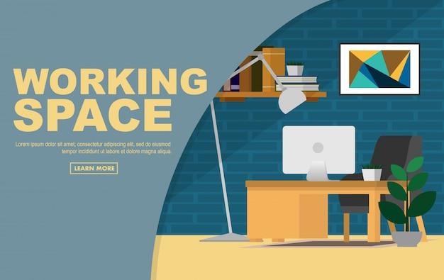Espace de travail intérieur dans la maison ou le bureau à domicile avec espace de copie du texte