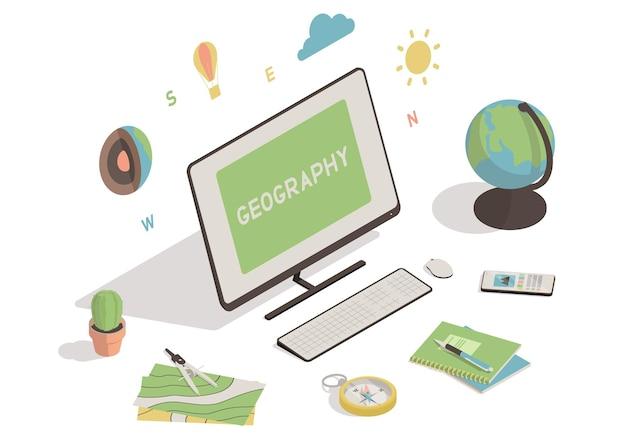 Espace de travail isométrique avec ordinateur, globus, carte, boussole comme concept d'éducation en ligne