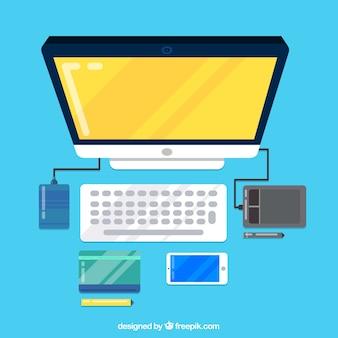 Espace de travail avec ordinateur moderne