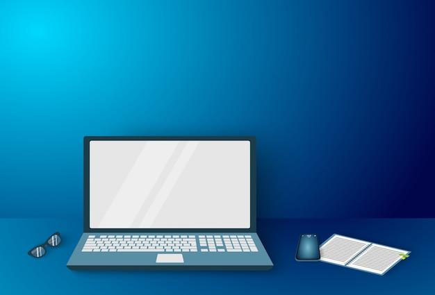 Espace De Travail Professionnel, Dispositifs Pour Homme D'affaires Sur Le Bureau Vecteur Premium