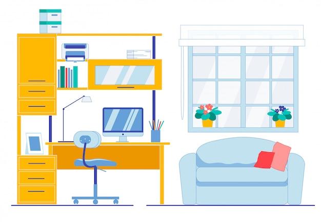 Espace de travail propre et propre dans la chambre de l'appartement
