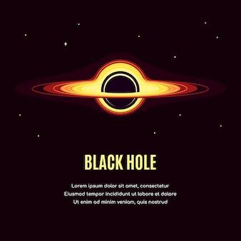 Espace avec trou noir. bannière de recherche spatiale, explorant la spase extérieure.