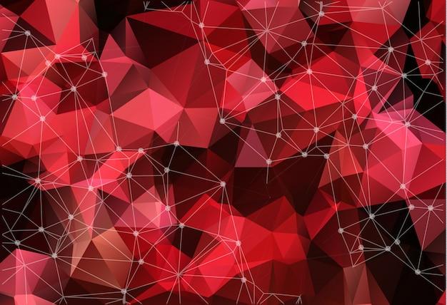 Espace vectoriel abstrait fond rouge.