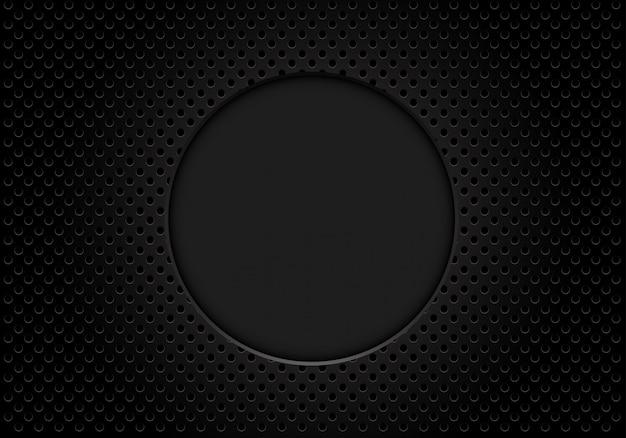 Espace vide de cercle gris foncé sur fond de treillis métallique.