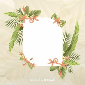 Espace vide avec joli cadre avec feuilles