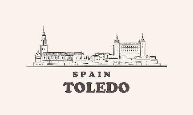 Espagne dessiné à la main de croquis de paysage urbain de tolède