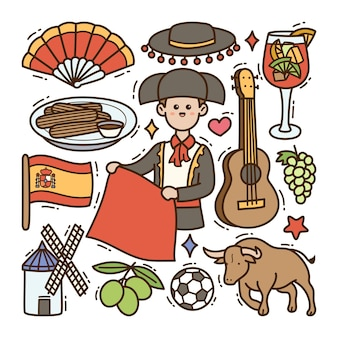 Espagne doodle illustration fond isolé