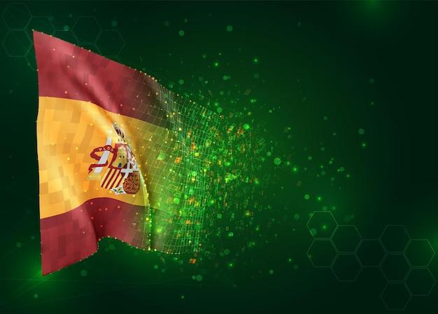 Espagne, drapeau 3d sur fond vert avec des polygones