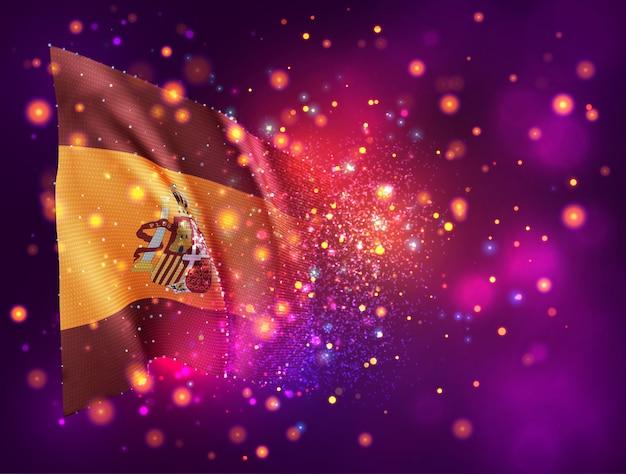 Espagne, drapeau 3d sur fond violet rose avec éclairage et fusées éclairantes