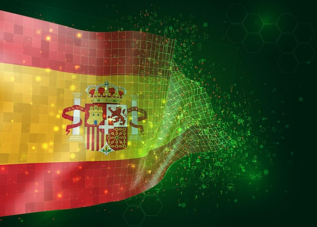L'espagne, sur le drapeau 3d vectoriel sur fond vert avec des polygones et des numéros de données