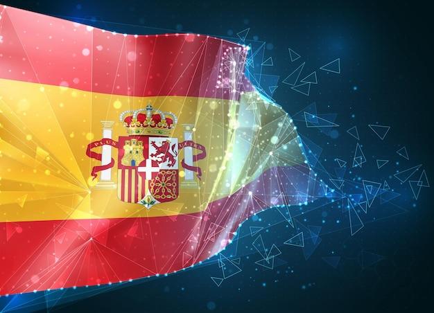 Espagne, drapeau, objet 3d abstrait virtuel de polygones triangulaires sur fond bleu