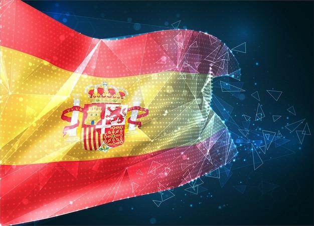 Espagne, drapeau vectoriel, objet 3d abstrait virtuel à partir de polygones triangulaires sur fond bleu