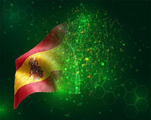 Espagne, vecteur drapeau 3d sur fond vert avec des polygones et des numéros de données