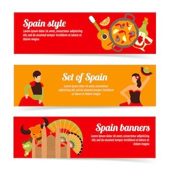 Espagne, voyage, espagnol, style, culture, vin, flamenco, bannières, ensemble, isolé, vecteur, illustration