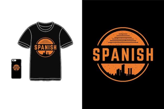 Espagnol, typographie de siluet de marchandises de t-shirt