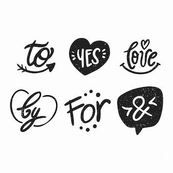 Esperluettes élégantes et mots clés pour la collection de mariage