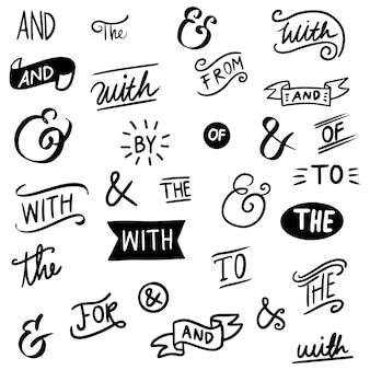 Esperluettes et mots clés à la main. esperluettes doodle vintage, ruban, mots clés, calligraphie. ensemble d'éléments de conception dessinés à la main. illustration vectorielle