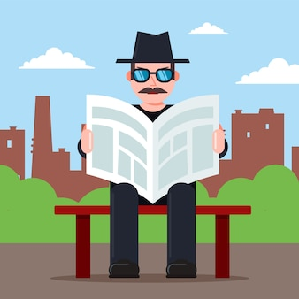 L'espion est assis sur un banc avec un journal dans ses mains et un chapeau. caractère d'observateur secret. illustration vectorielle plane