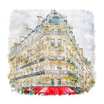 Esplanade saint paris aquarelle croquis illustration dessinée à la main