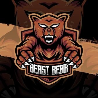 Esport logo bête ours caractère icône