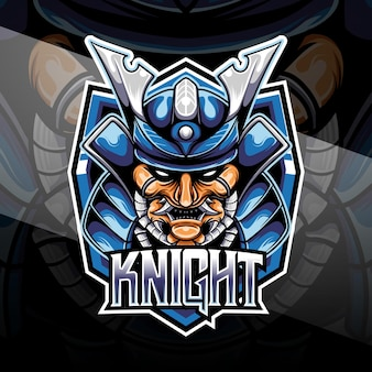 Esport logo heaad chevalier samouraï