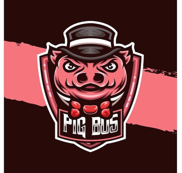 Esport logo illustration cochon bos caractère icône
