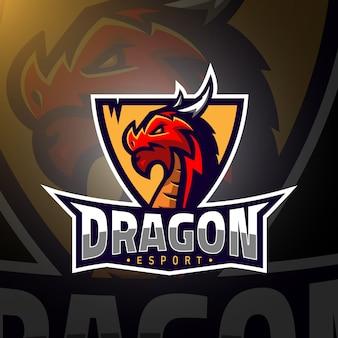 Esport logo de jeu de tête de dragon