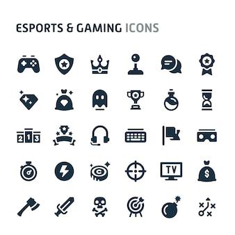 Esports & gaming icon set. série d'icônes fillio black.