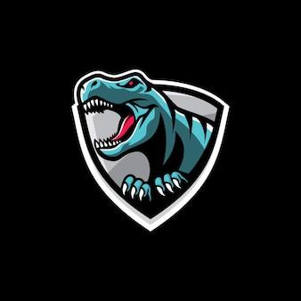 Esports trex roaring mascot logo