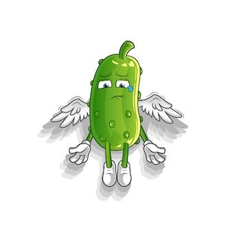 L'esprit de concombre quitte la mascotte du corps. dessin animé
