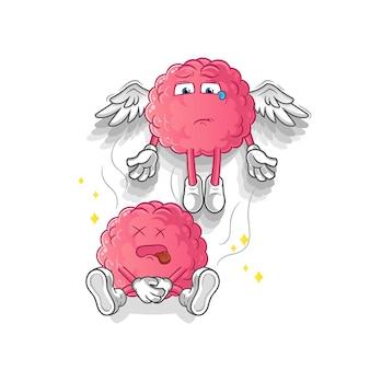 L'esprit du cerveau quitte la mascotte du corps. dessin animé