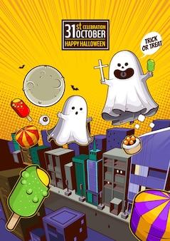 Esprit fantôme volant en ville joyeux halloween fantômes blancs effrayants conception de personnage de dessin animé mignon