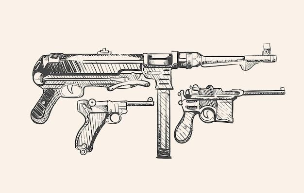 Esquisse des armes allemandes de la seconde guerre mondiale