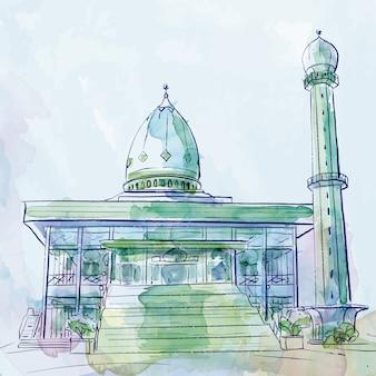 Esquisse au pinceau aquarelle mosquée vecteur conception islamique